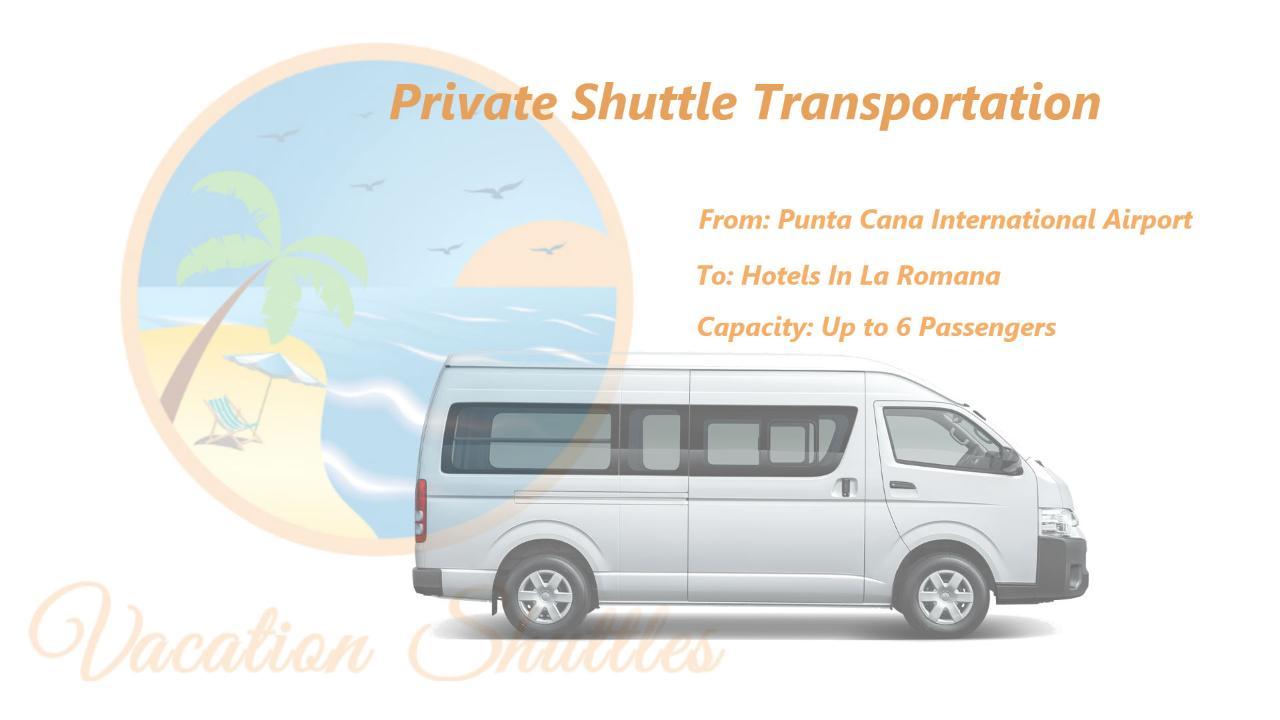 Round Trip Punta Cana to La Romana Hotels 1-8 Passengers
