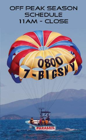 Parasail Flights  11 AM till close / Off Peak Season