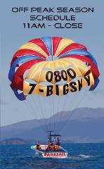 Parasail Flights  11 AM till close / Off Peak Season