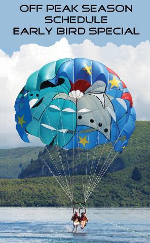 Early Bird Discounted Parasail Flights  9 & 10 AM / Off Peak Season