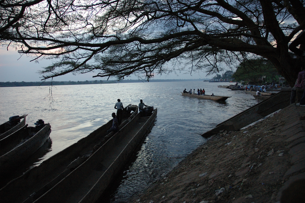 Canoe on the Congo River from Stanleyville (Kisangani)