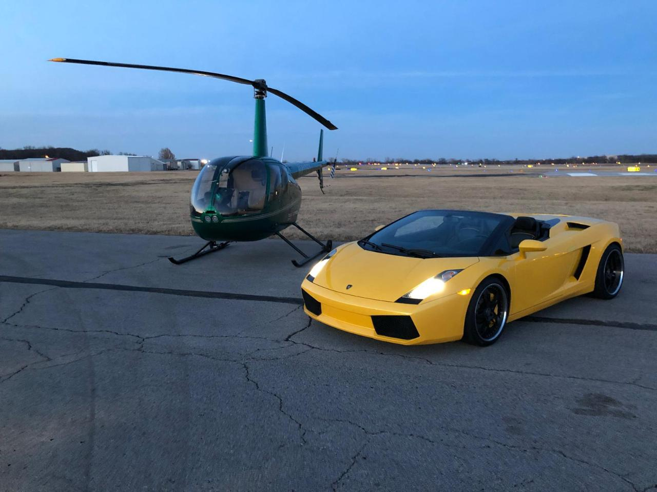 Exotic car ride + Helicopter tour