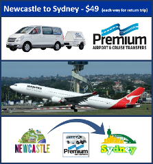 Transfer - Newcastle to Sydney Airport - 5.15am & 11.15am Daily