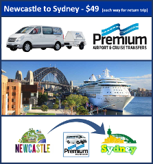 Transfer - Newcastle to Sydney Cruise Terminal - 11.15am Daily