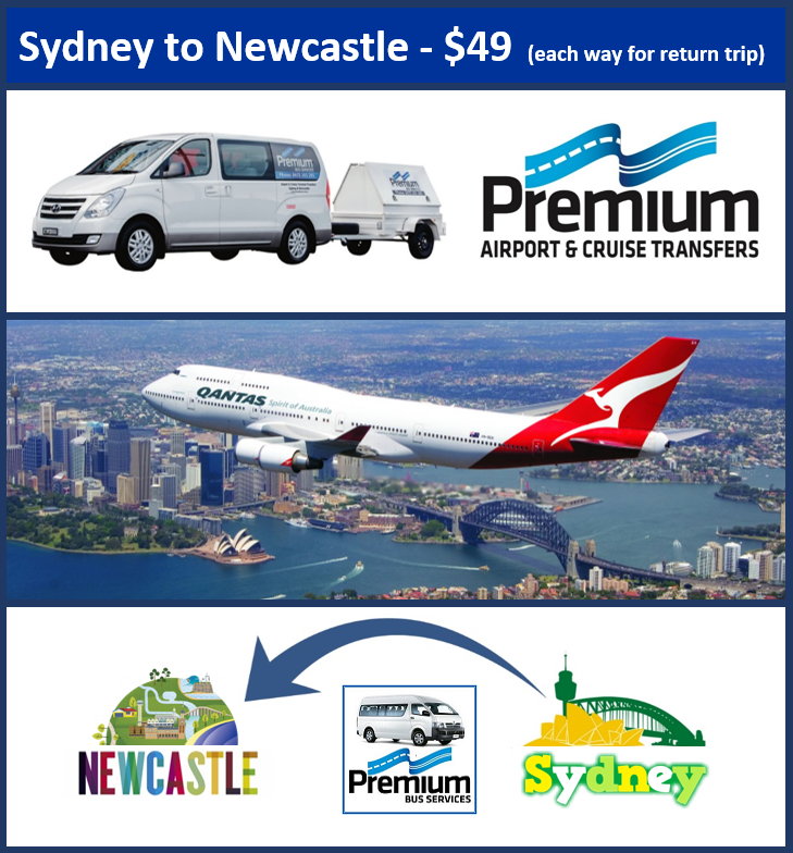 Transfer - Sydney Airport to Newcastle - 8.30am & 2.30pm Daily