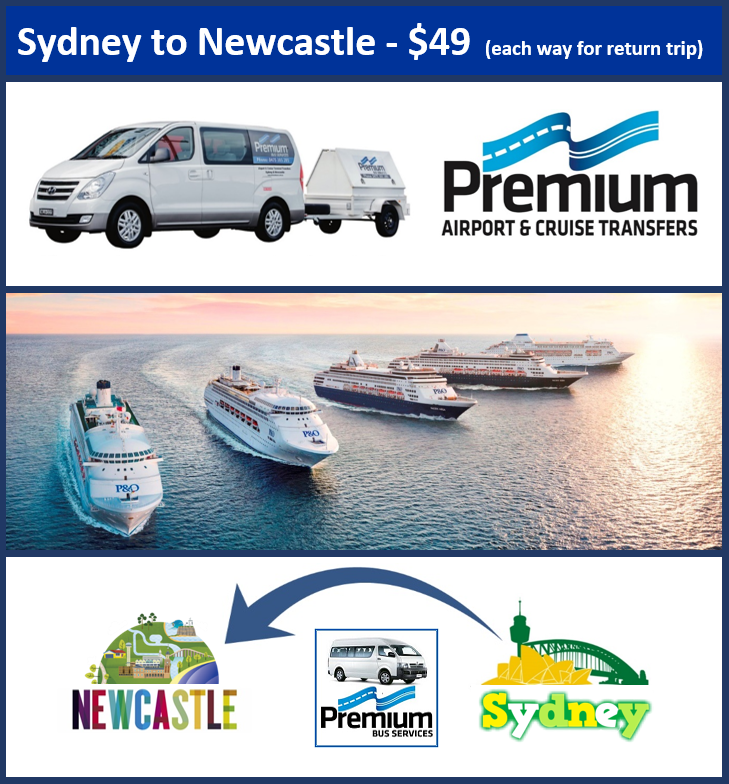 Transfer - Sydney Cruise Terminal to Newcastle - 9.00am Daily