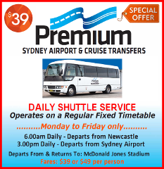 Daily Shuttle  TO  Sydney - Shared Service From McDonald Jones Stadium - MON to FRI only.
