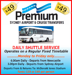 Daily Shuttle  FROM  Sydney - Shared Service To McDonald Jones Stadium - MON to FRI only.