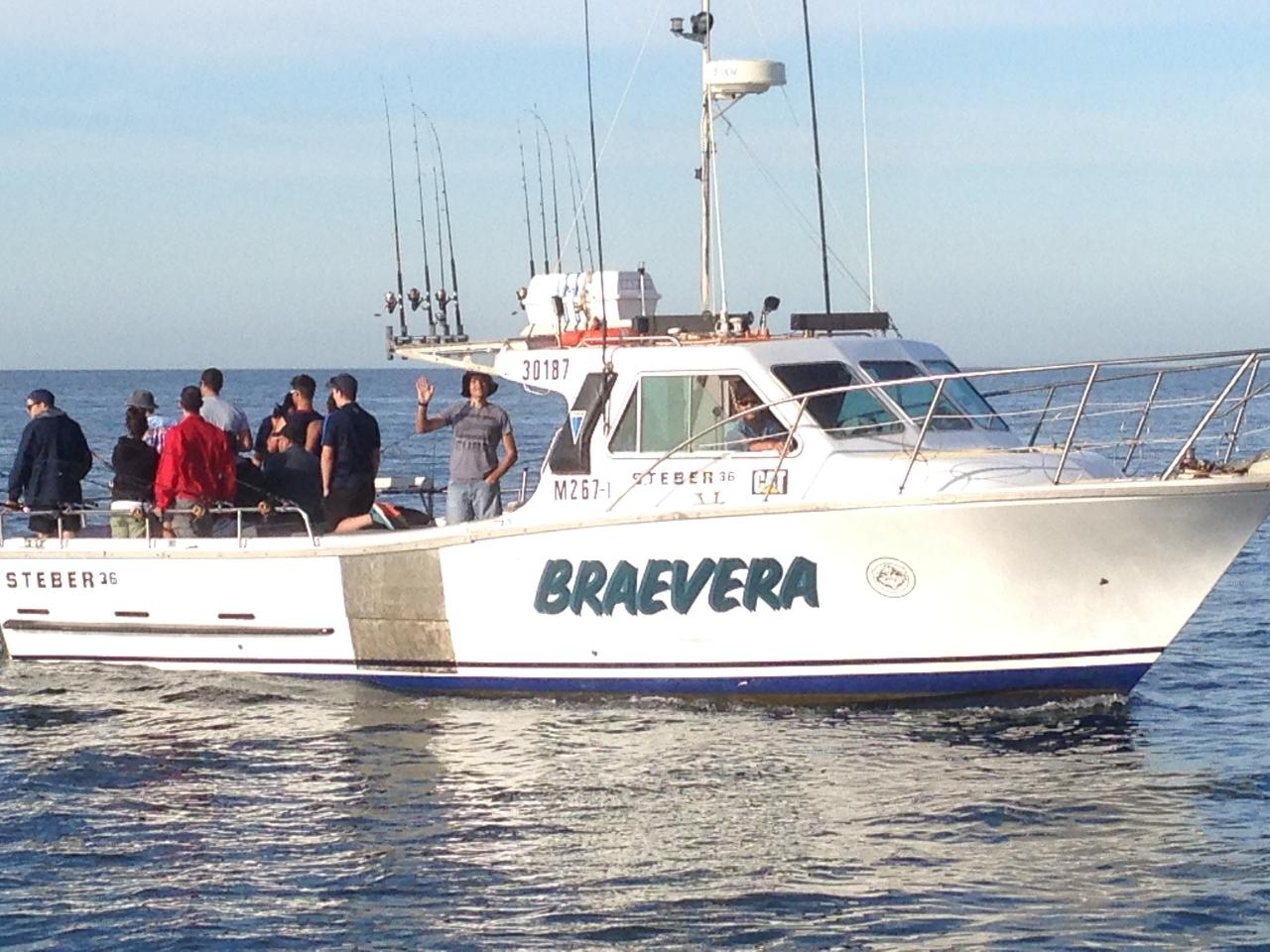"Private Mid Morning Fishing Charter  4hrs on ""Braevera""  with Lunch 1 - 12 People."