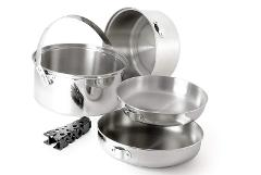 Pot /Pan Stainless Set - Large (2 Pot/2 Pans)  (Backpacker)