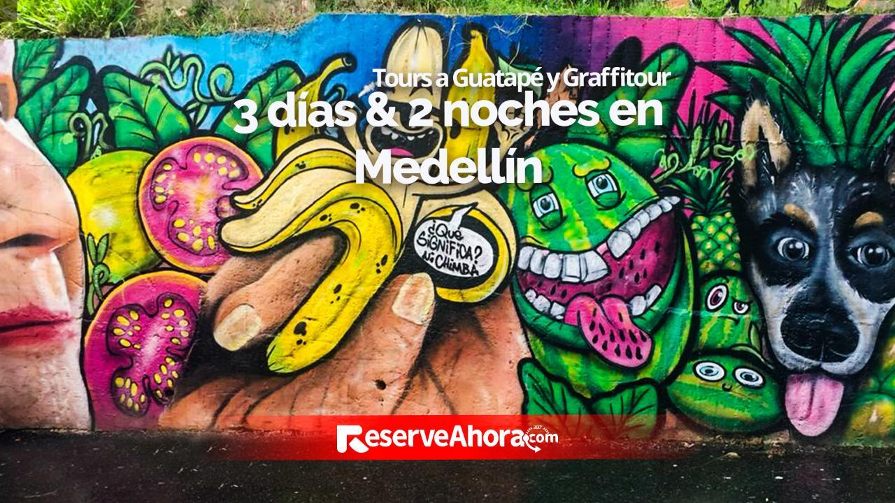3 días & 2 noches EcoHub Hotel Medellín - Guatapé y graffitour