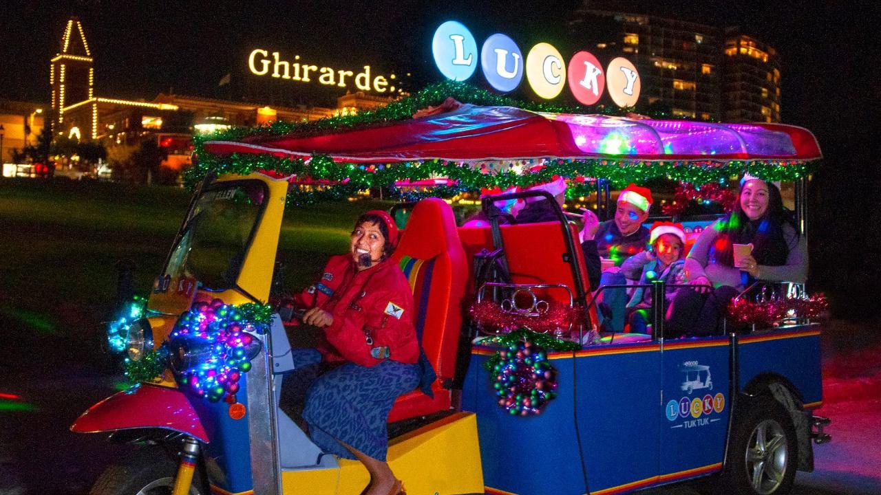 Holiday Lights and Sites Lucky Tuk Tuk San Francisco Tour