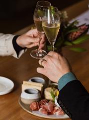 Two glasses of Jansz NV & Tasmanian Cheese Platter Offer