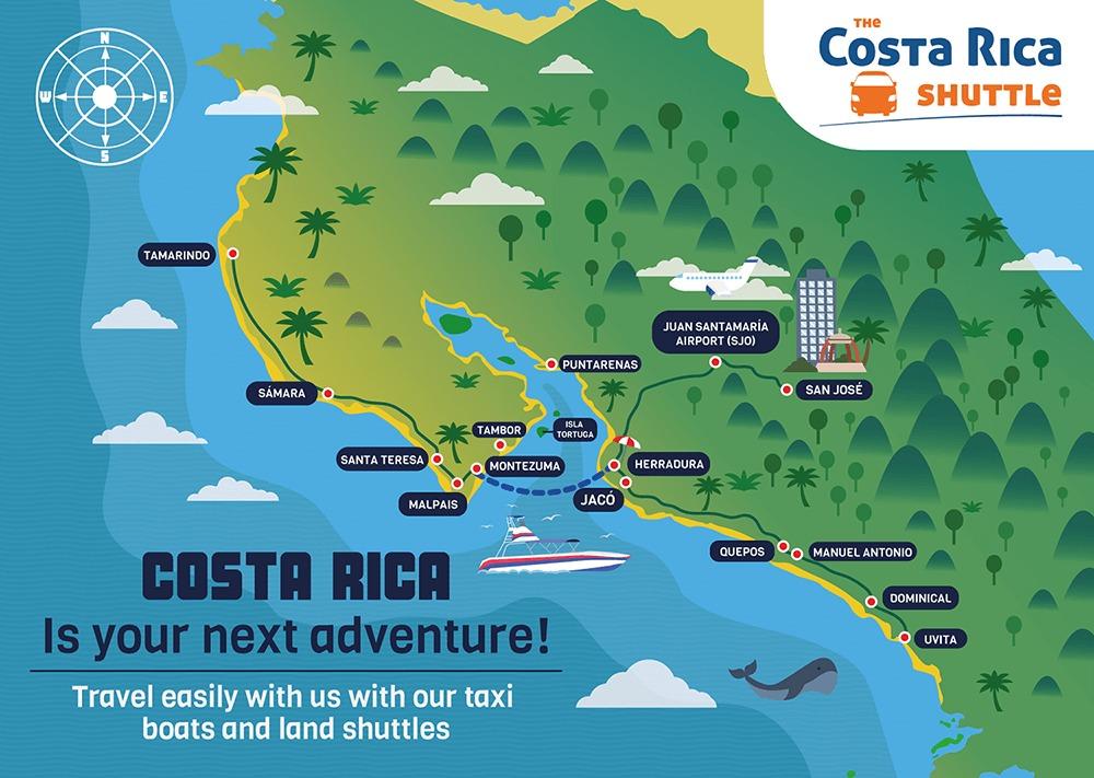 Playa Hermosa Santa Teresa to Santa Ana Hotels Taxi Boat Transportation