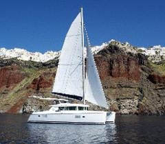Private Tour: 5-Hour Day or Sunset Santorini caldera cruise with modern catamaran yacht