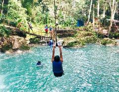 Irie Blue Hole, Horseback Ride n Swim and Zipline Adventure Tour from Ocho Rios