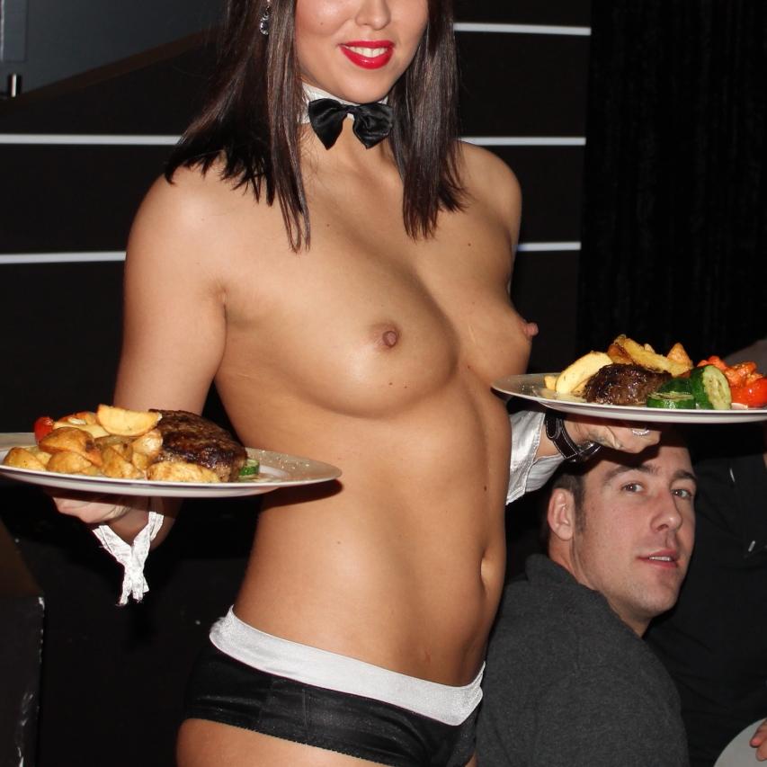 Nude in public waitress