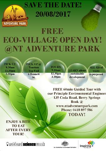 FREE ECO VILLAGE TOUR @ NT ADVENTURE PARK - 20 AUGUST 2017
