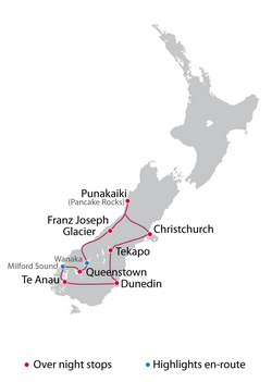 Self Guided 10 Day South Island Tour