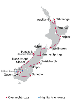 Self Guided 16 Day North & South Island Tour