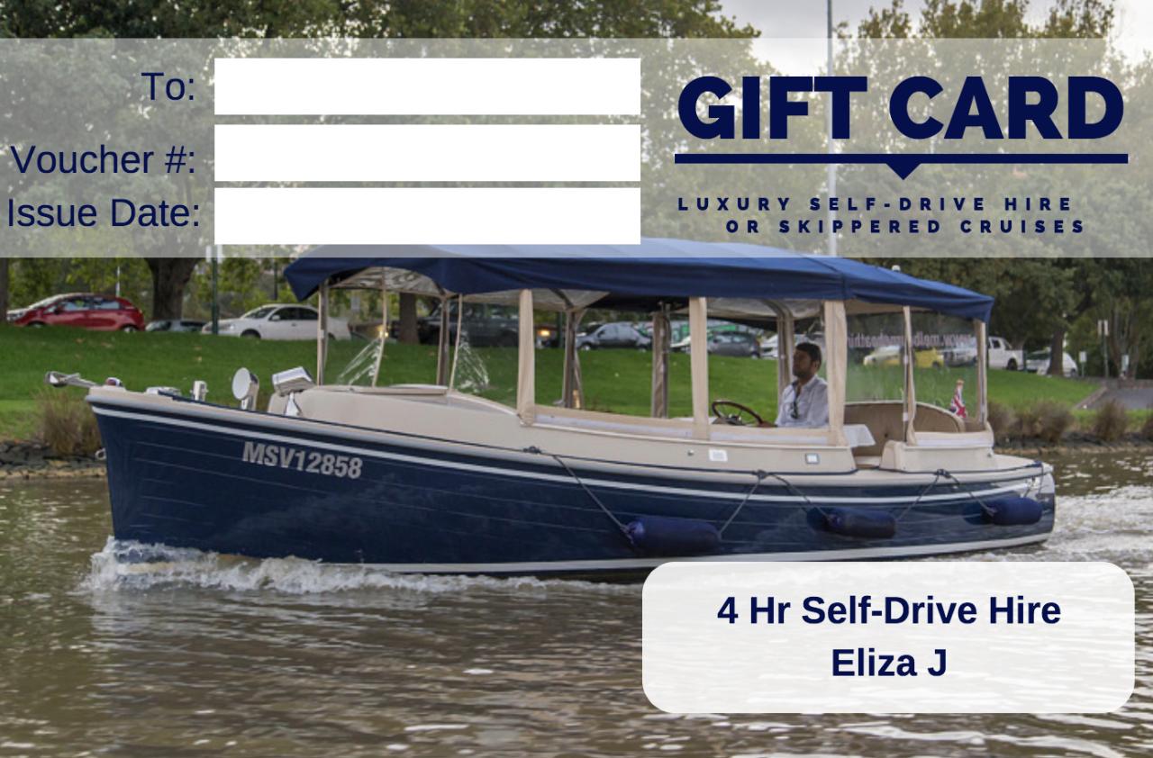 4 Hour Self-Drive Hire- Eliza J - Gift Card