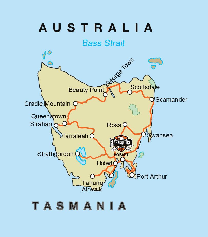 Australia Tour Map.Show Me Your Map Of Tasmania Self Drive Motorcycle Tour Hba
