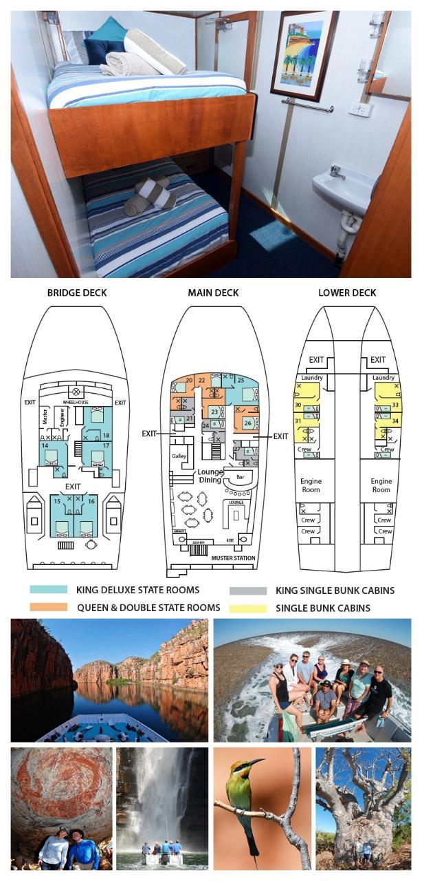 King Single Internal Bunk on the Main Deck - Cabin 24 - Kimberley 13 Night Adventure Tour - Broome to Wyndham