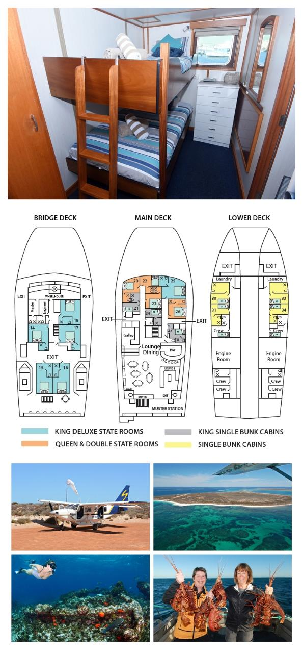 King Single Bunk Cabin on the Main Deck - Cabin 21/27 - Abrolhos Islands 5 Day Tour - Boat out & Fly back