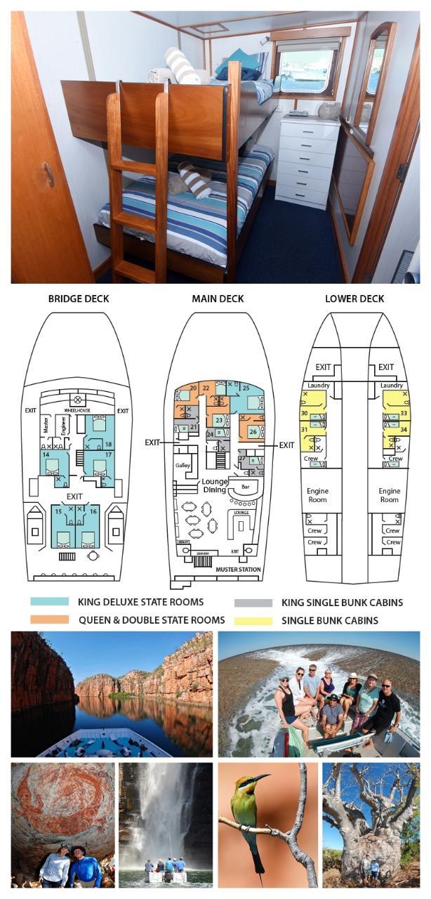 King Single Bunk Cabin on the Main Deck - Cabin 21/27 - Kimberley 13 Night Adventure Tour - Broome to Wyndham