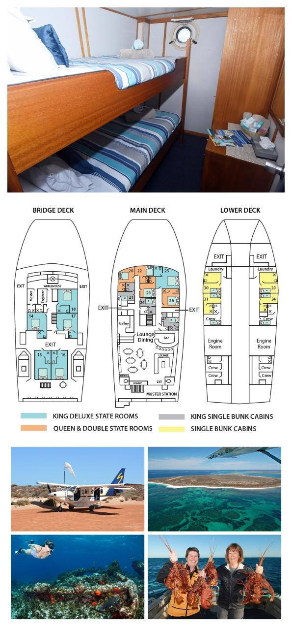 Single Bunk Cabin on the Lower Deck - Twin Share - Abrolhos Islands 5 Day Tour - Boat out & Fly back