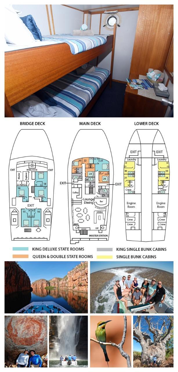Single Bunk Cabin on the Lower Deck - Solo Use - Kimberley 13 Night Adventure Tour - Broome to Darwin