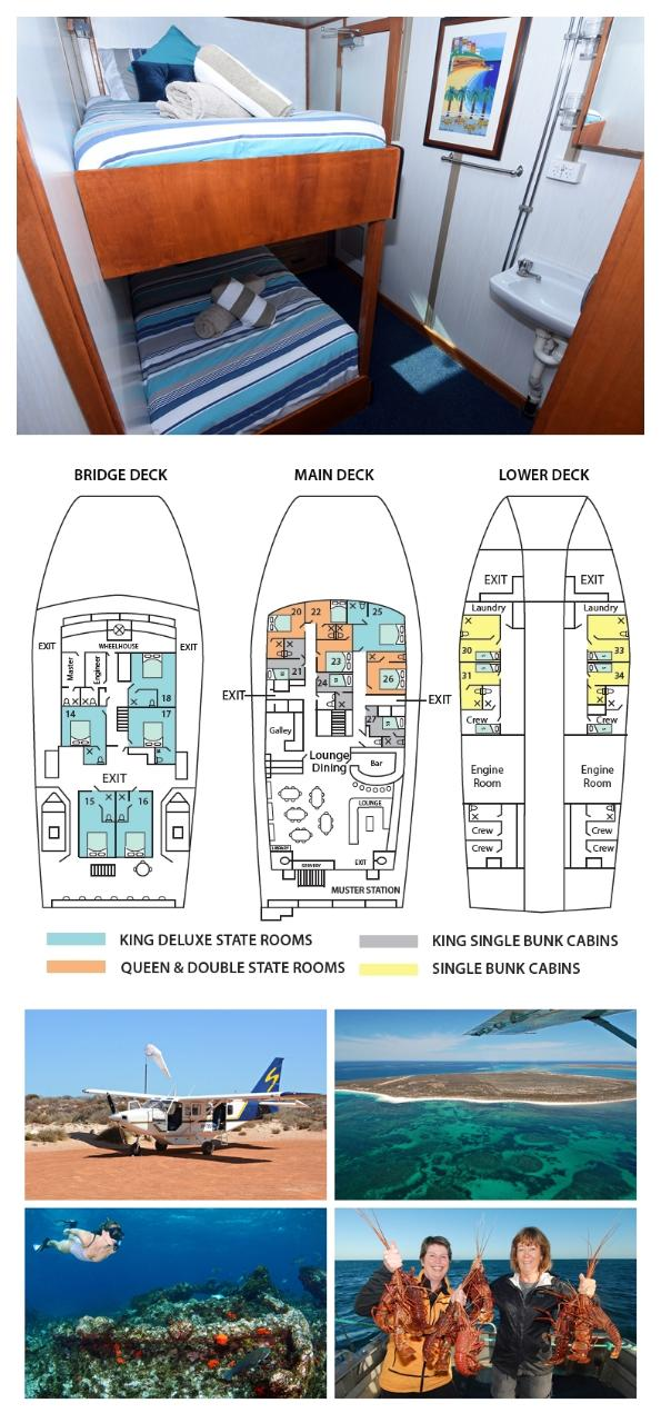 King Single Internal Bunk Cabin on the Main Deck - Cabin 24 - Abrolhos Islands 5 Day Tour - Fly out & Fly back