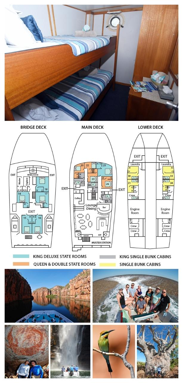 Single Bunk Cabin on the Lower Deck - Twin Share - Kimberley 13 Night Adventure Tour - Broome to Wyndham