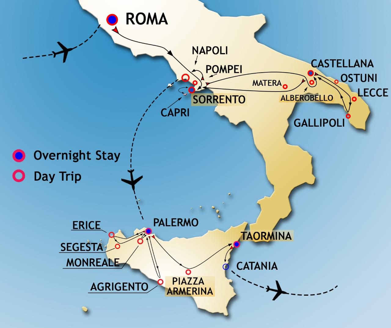 Map Of South Of Italy.Rome South Italy And Sicily Best Of Sicily Reservations
