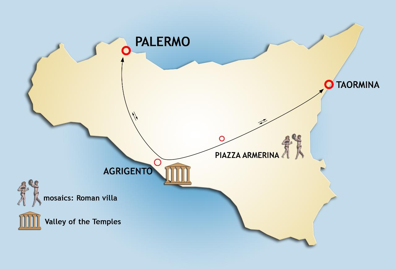 Private Transfer Tour from Palermo to Taormina: stopovers at Valley of the Temple and Roman Villa