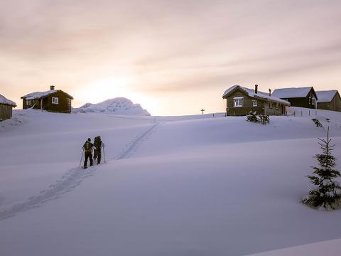 Trugetur og bålkurs (Snowshoeing tour and campfire course)