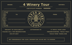 TWT GIFT CERTIFICATE - 4 Winery Tour