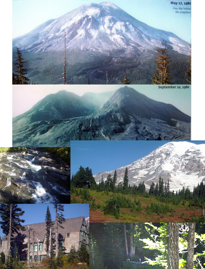 Two Mountains - Mt Rainier and Mt. Ste Helens