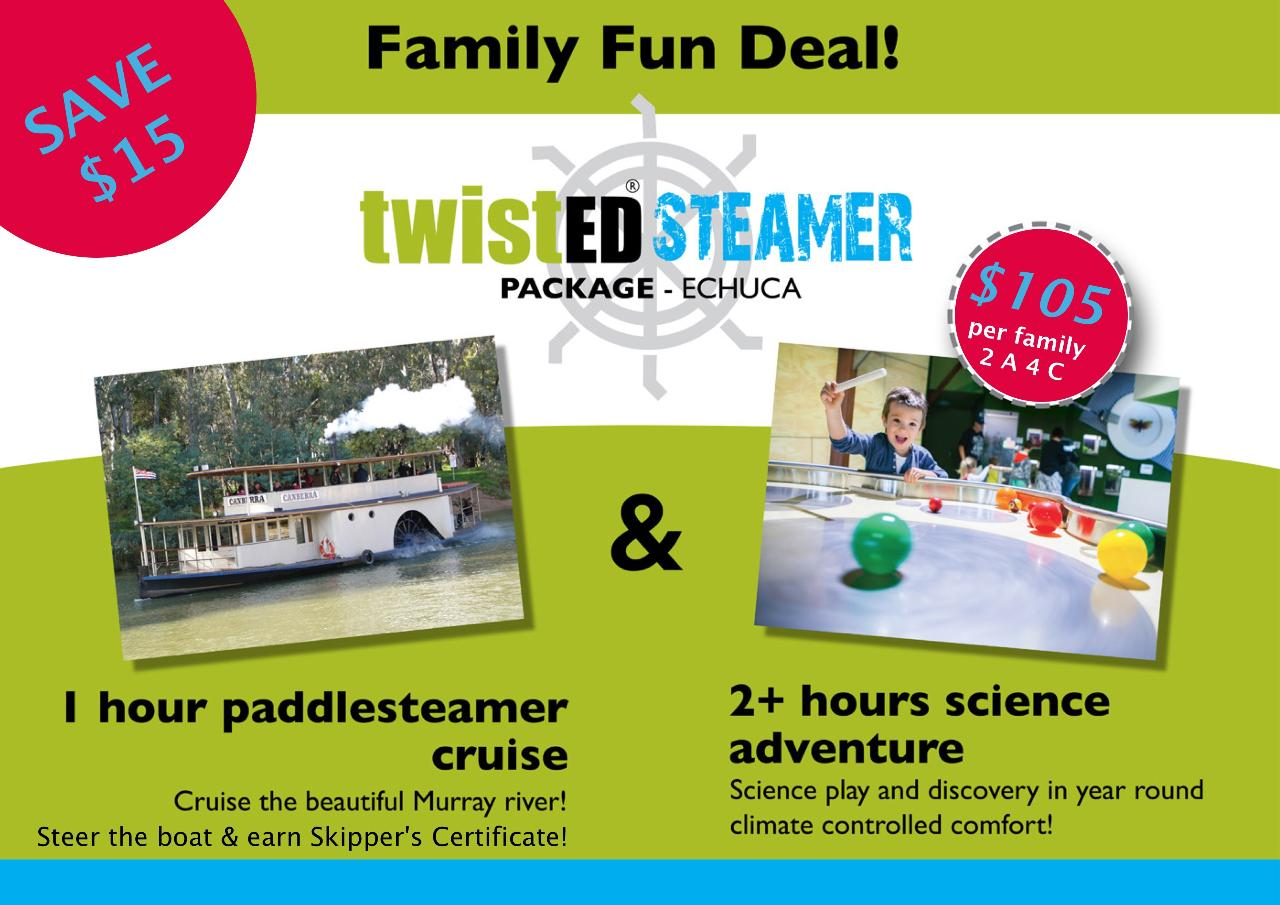 TwistedSteamer - Family Deal - You Choose Your Paddlesteamer Cruise Time