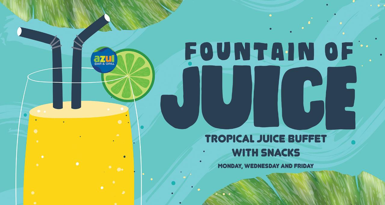 Monday, Wednesday and Friday Fountain of Juice