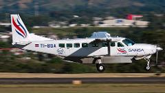 Sansa Airlines Flight with transfers  from San Jose to Puerto Viejo/Cahuita/