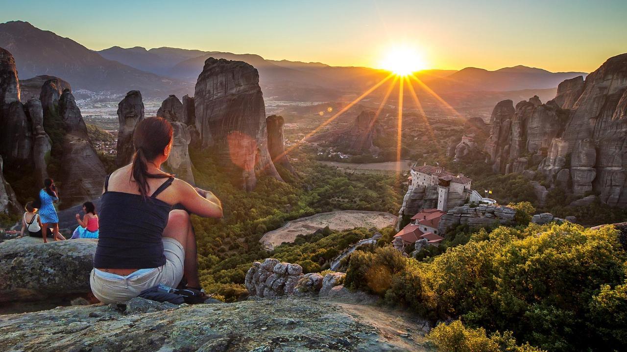Majestic Sunset on Meteora Rocks Tour