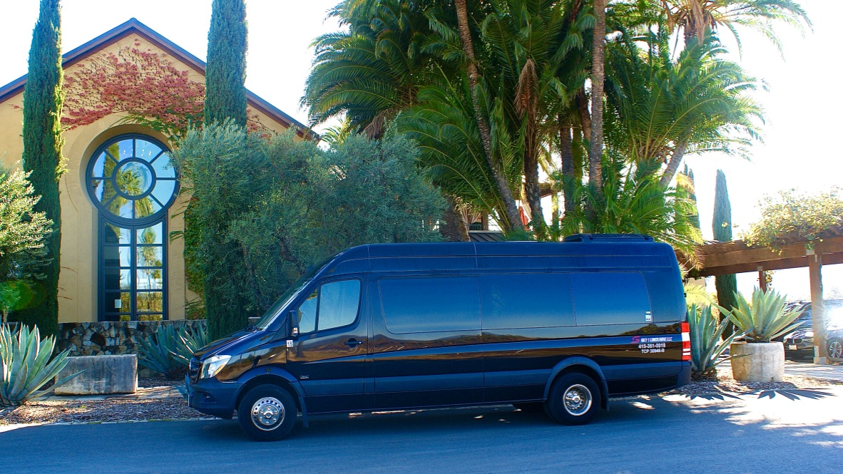 Mercedes Coach Style Sprinters for 13 and 14 Guests, with 6 Hour Minimum everyday at $110/Hr.