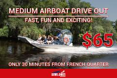 Medium Airboat - Drive Yourself To The Dock - $65 Per person ($30 Partial Payment)