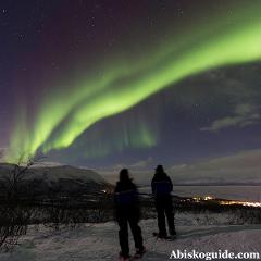 Northern lights snowshoe walk