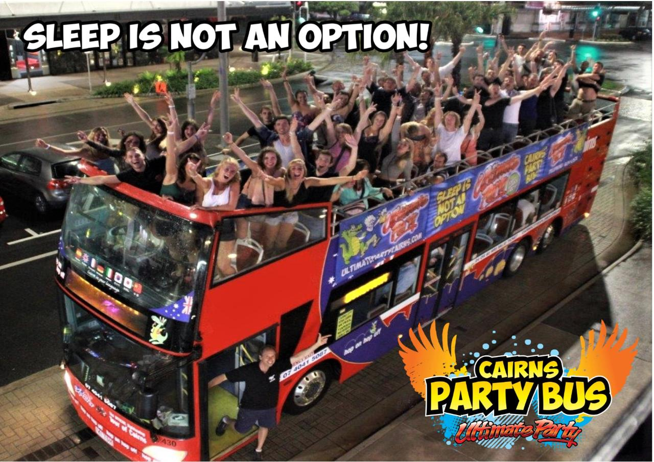 Ultimate Party Bus Wednesday Night. Locals/Students/Backpacker Rate only