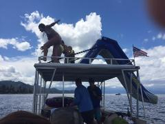 8 hour in a 27' Lake Tahoe Pontoon Boat Rental Including fuel, taxes, fee and tube/slide. Total price out the door!