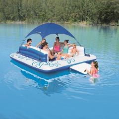 8 Person Islands w/Sun Shade, dry seats, backrests, cup holders, 2 ice buckets, 2 bench seats, entry ramp & a foot splash hole