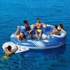 6-8 Person Islands w/5 dry seats, backrests, cup holders, 2 ice buckets, sun/lounge area, entry ramp & a foot splash hole
