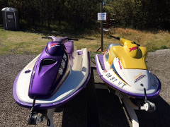 Two Jet Skis On One Trailer - One Thee Seater and  One Two Seater